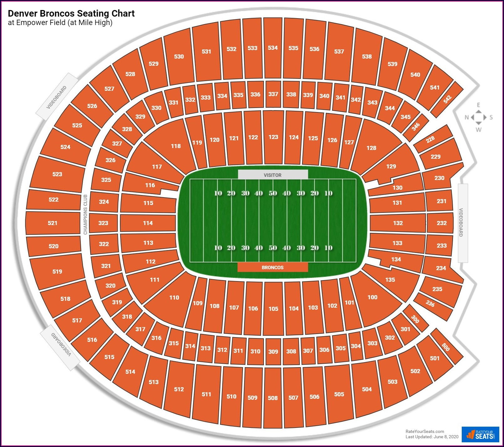 Detailed Broncos Stadium Seating Map