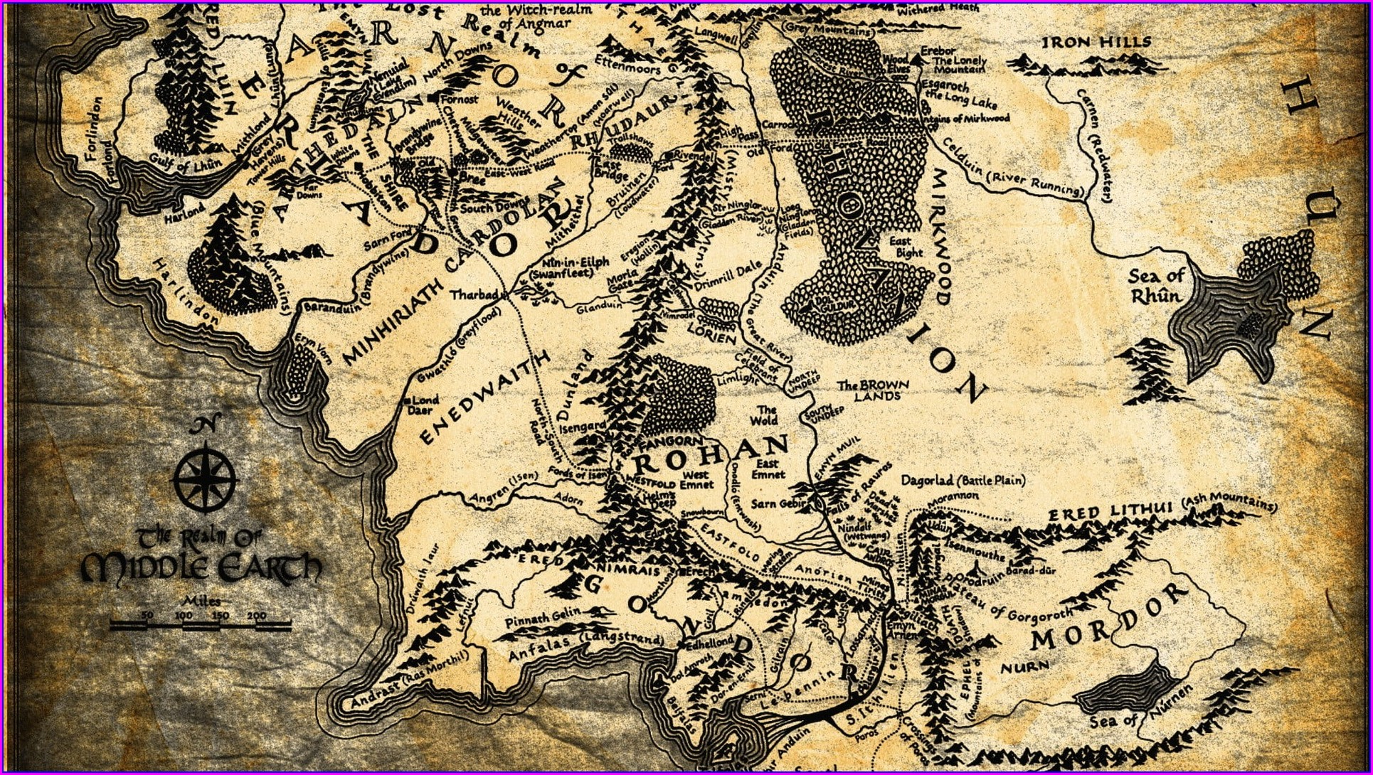 Detailed Middle Earth Map Hd