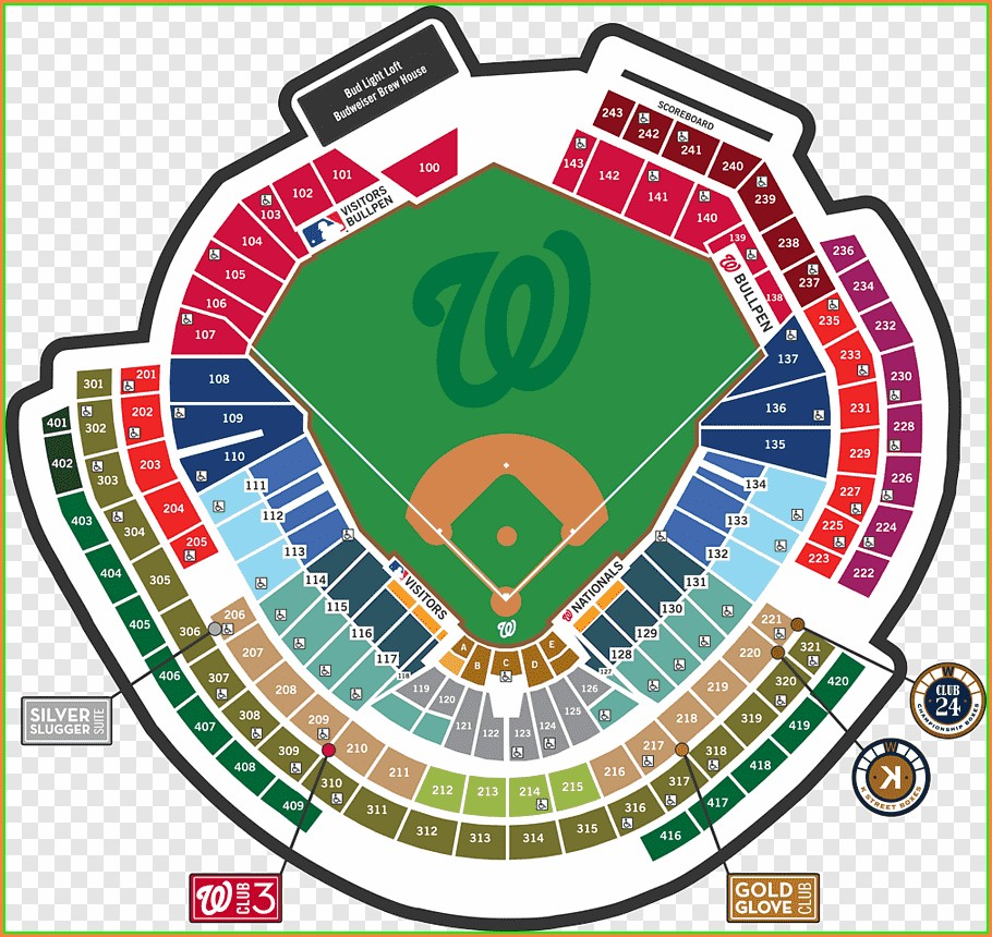 Detailed Nationals Park Seat Map