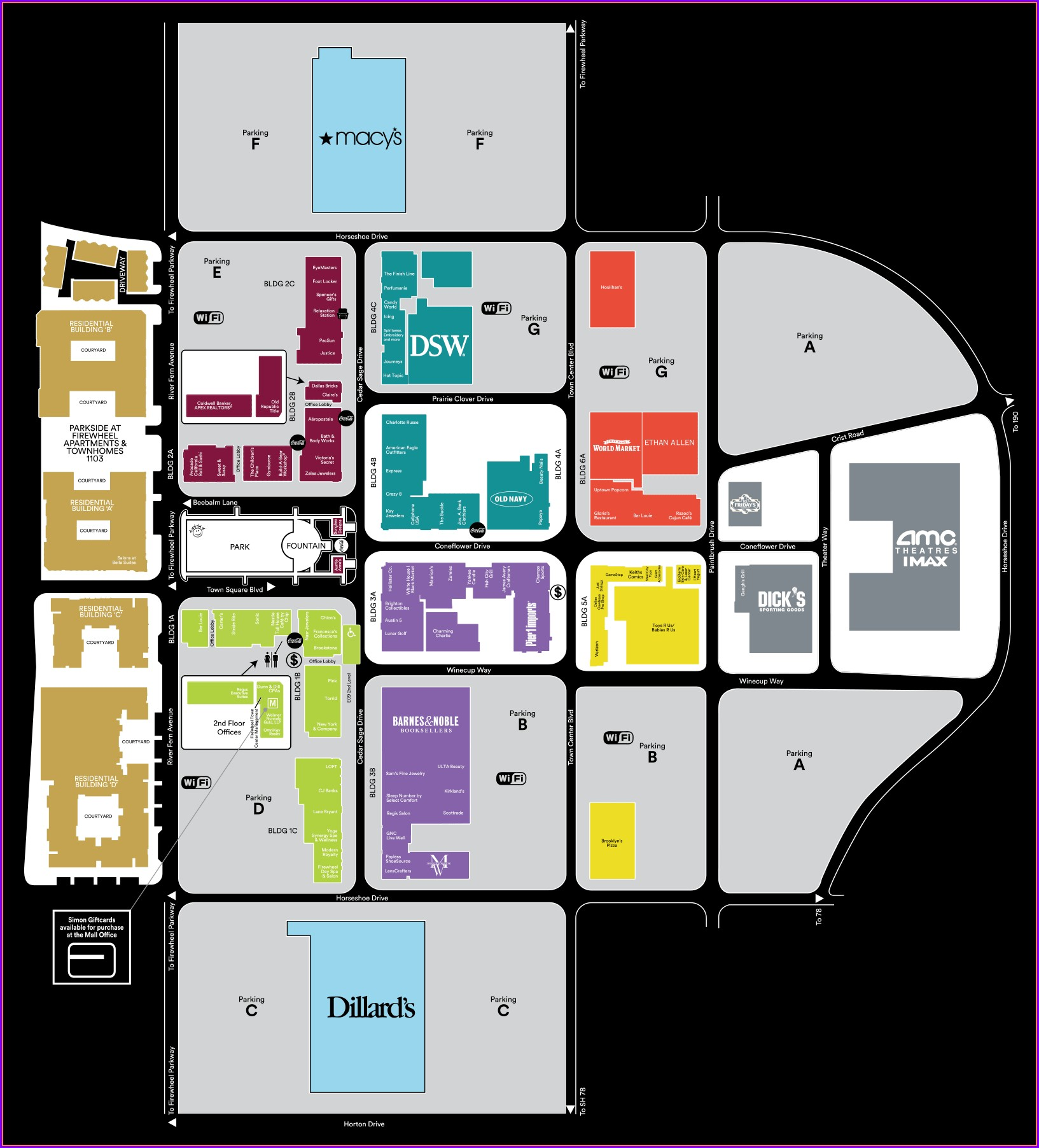 Directory Northpark Mall Map Dallas