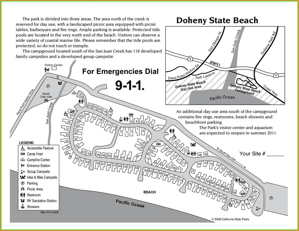 Doheny State Beach Map Of Campground