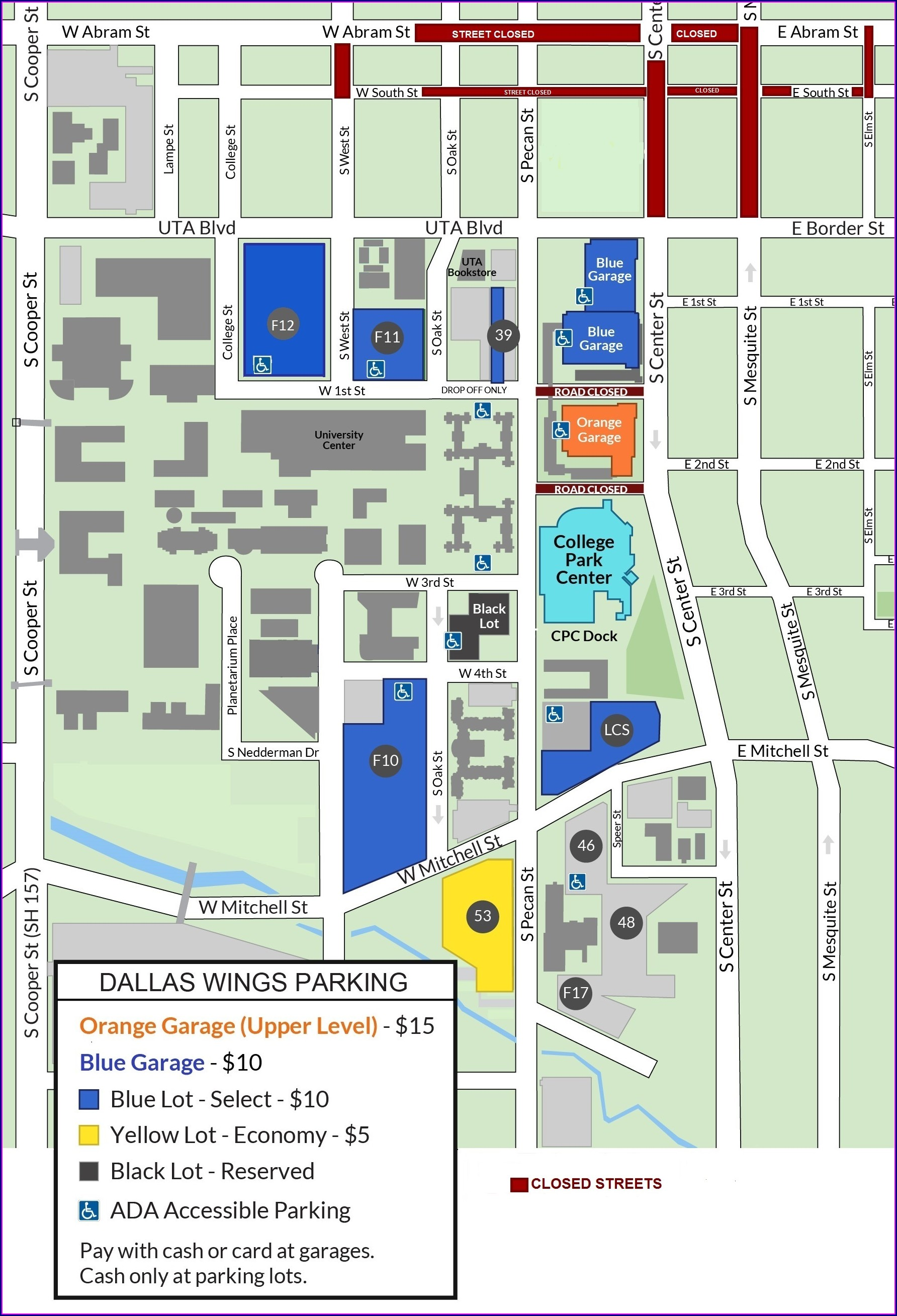 Dos Equis Pavilion Parking Map