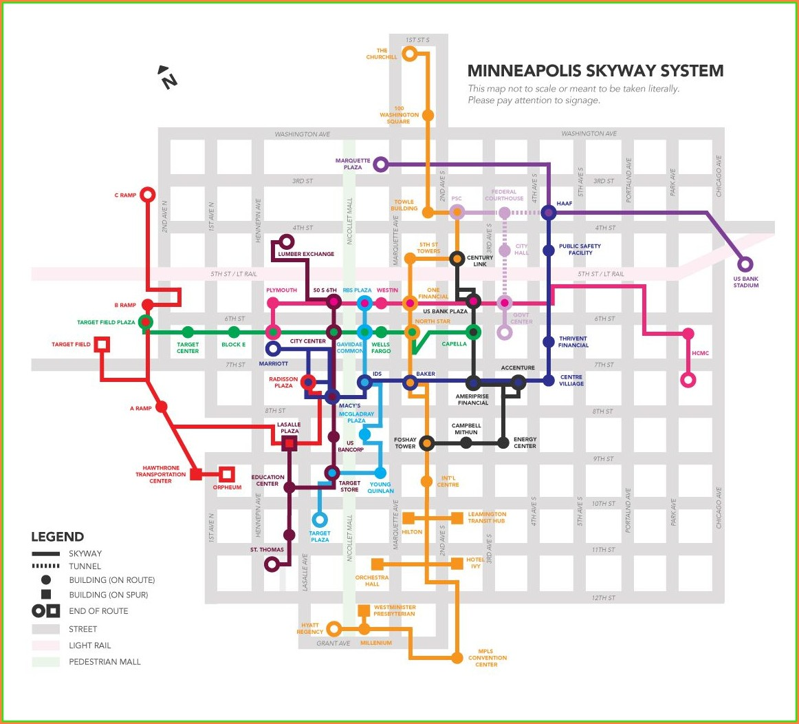 Downtown Minneapolis Skyway Map Printable
