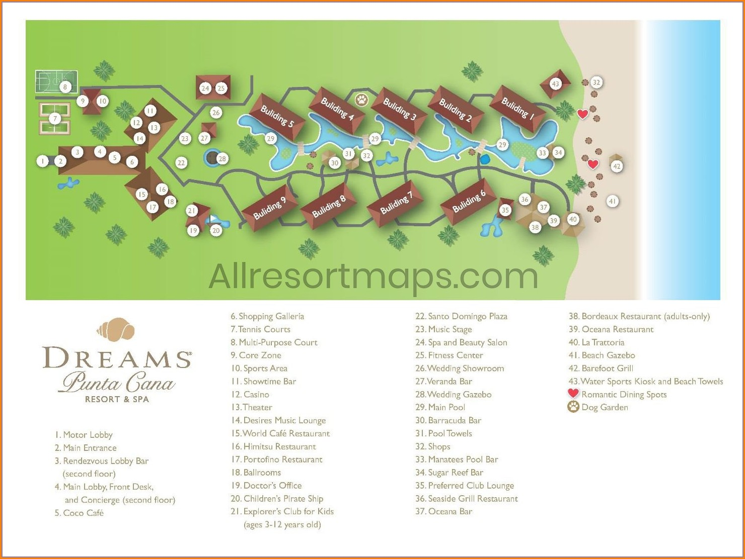 Dreams Palm Beach Punta Cana Map