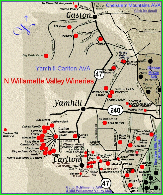 Dundee Oregon Wineries Map