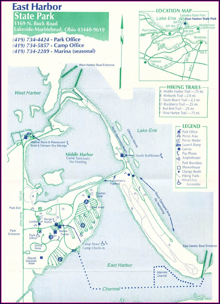 East Harbor State Park Ohio Campground Map