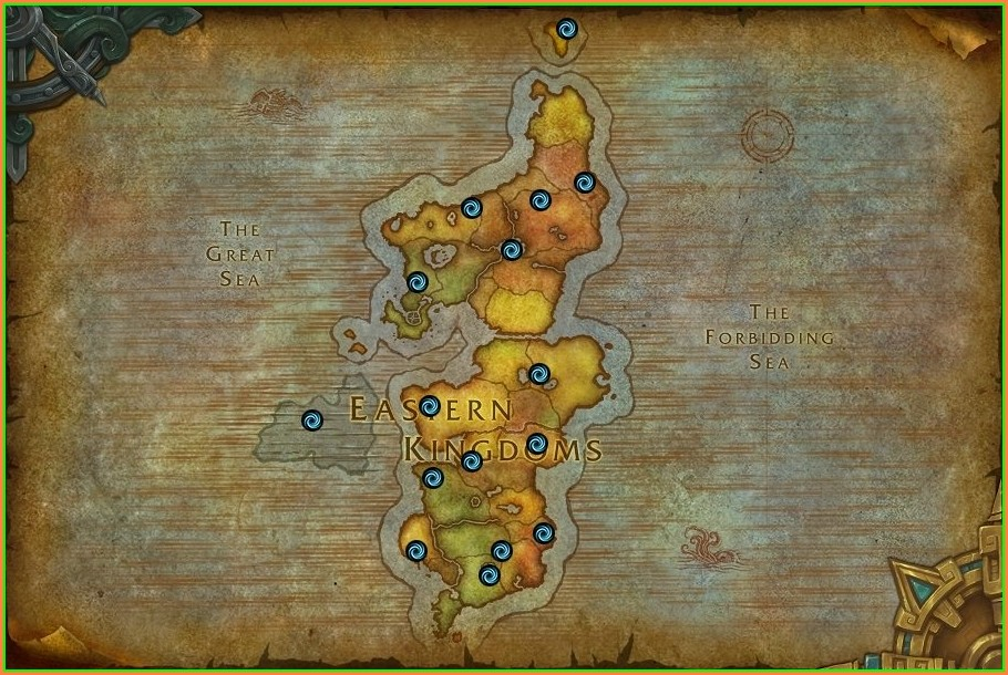 Eastern Kingdoms Wow Dungeon Locations Map