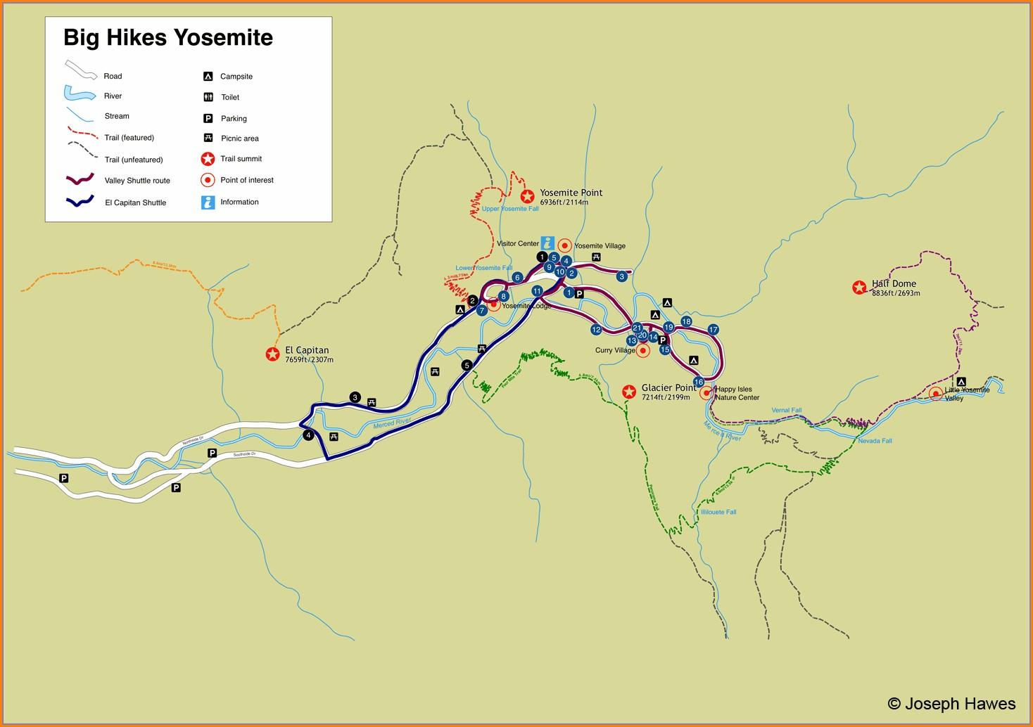El Capitan Yosemite Trail Map