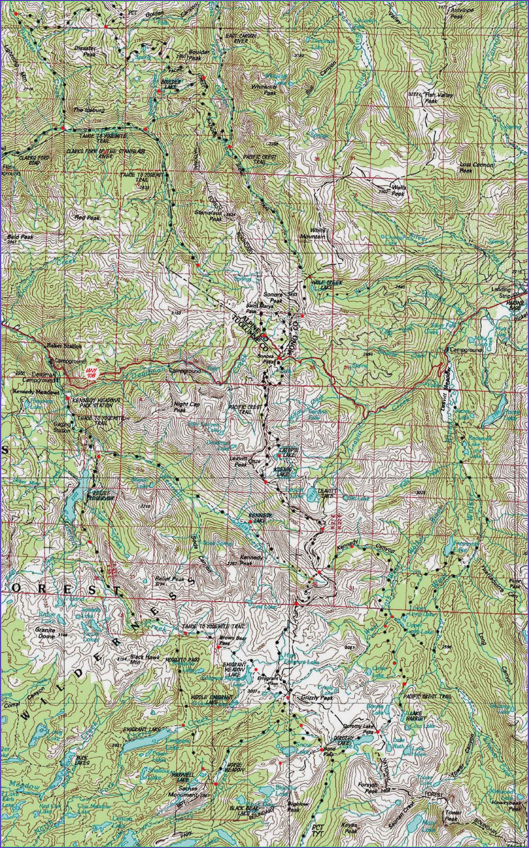 Emigrant Wilderness Topo Map