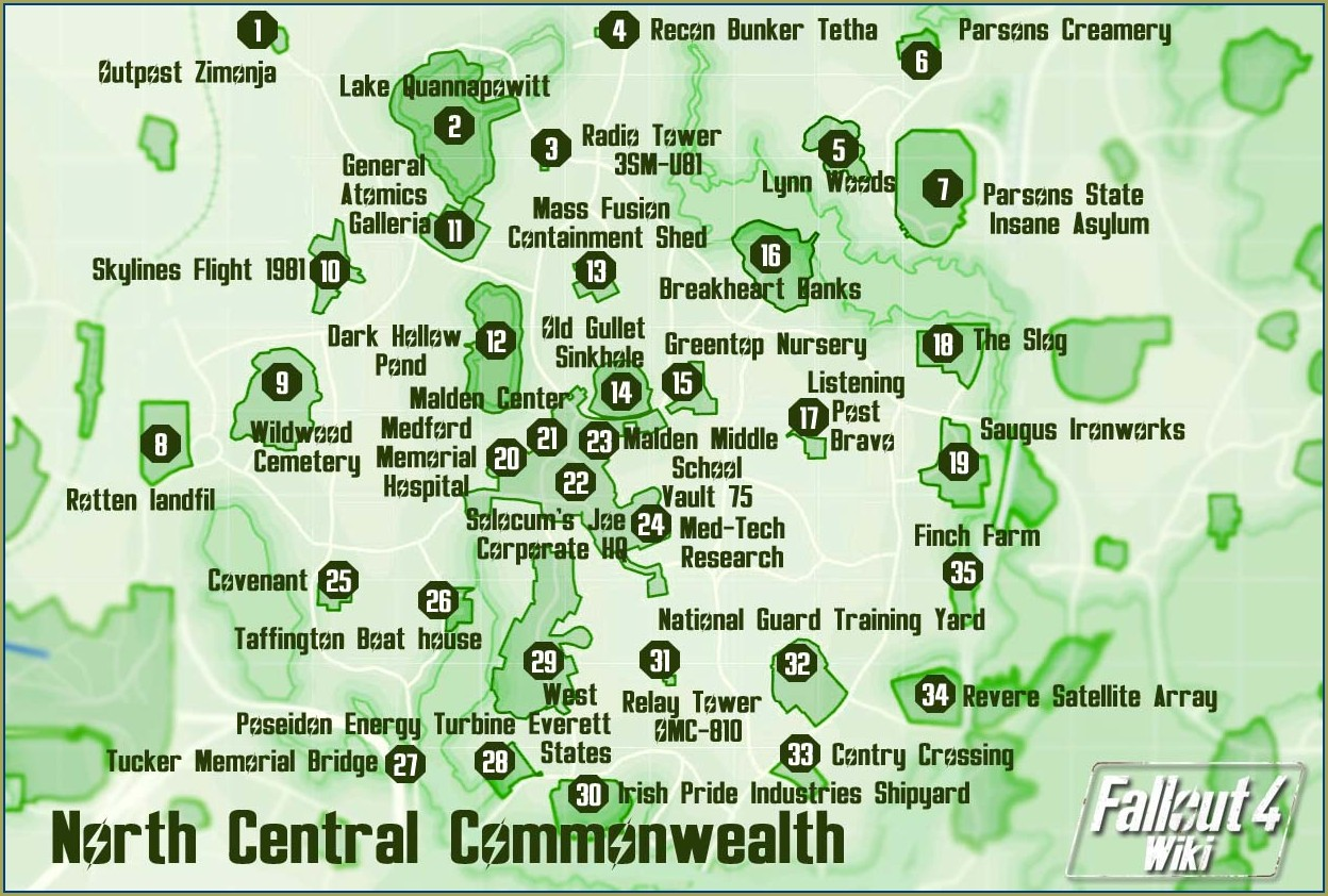 Fallout 4 Commonwealth Map With Locations