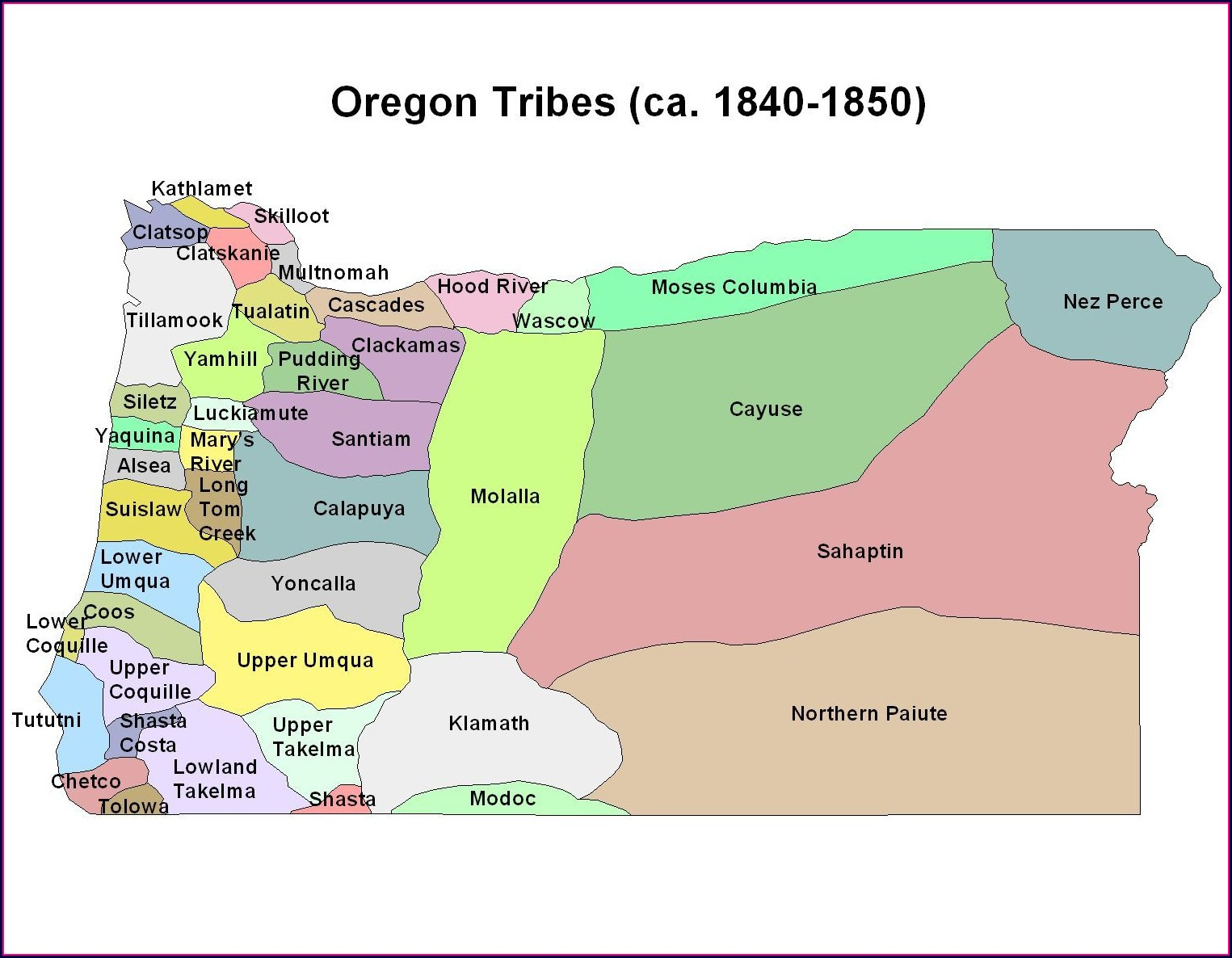 Federally Recognized Oregon Tribes Map