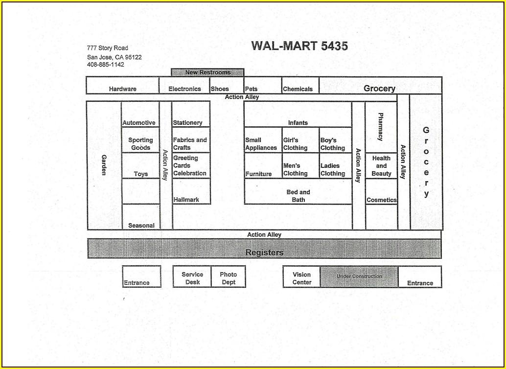 Floor Plan Layout Walmart Grocery Aisle Map