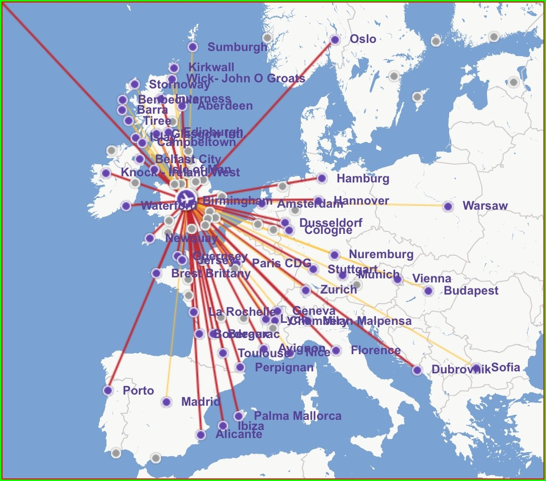 Flybe Route Map From Birmingham