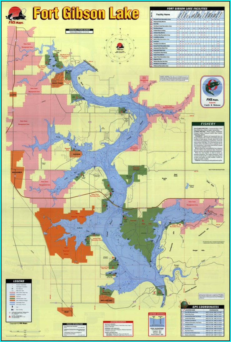 Fort Gibson Lake Fishing Map