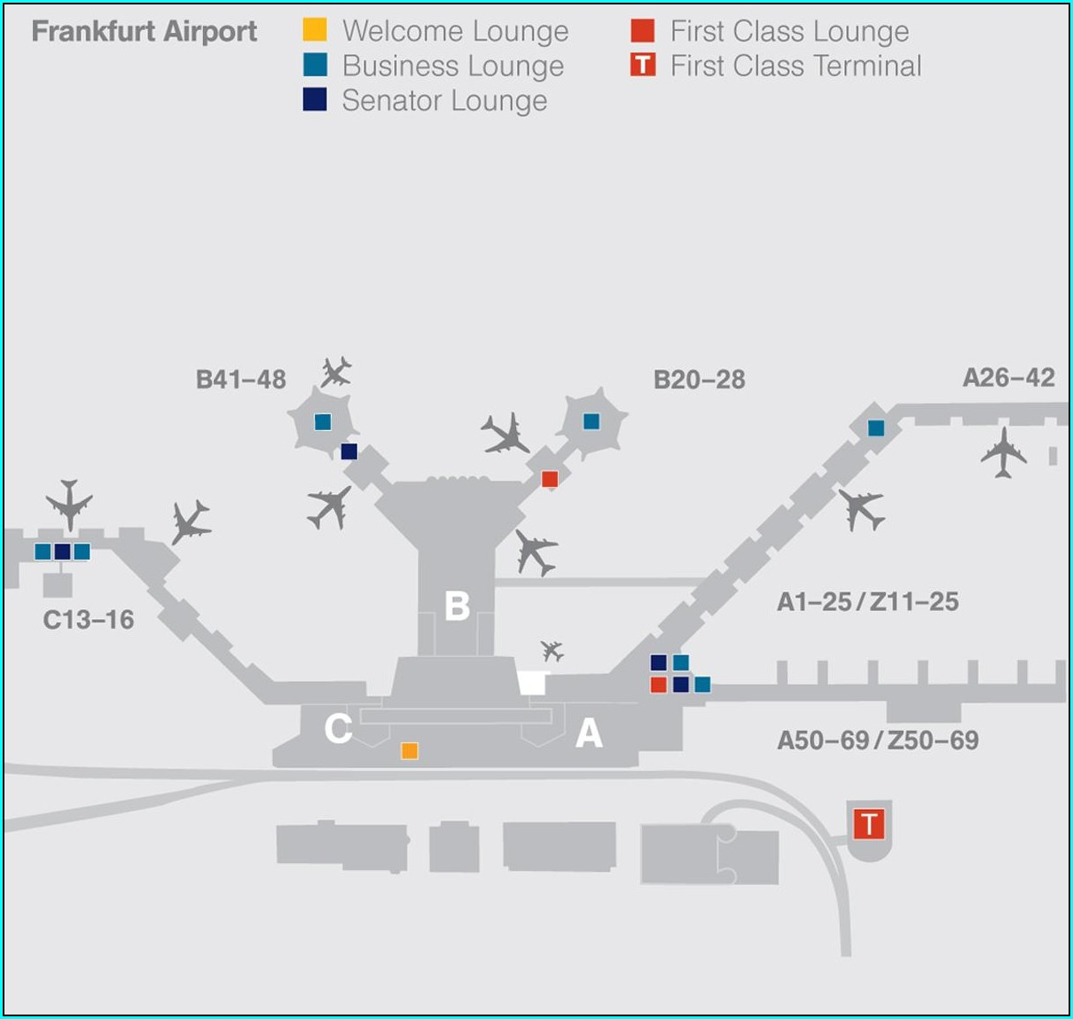 Frankfurt Airport Map Lounges