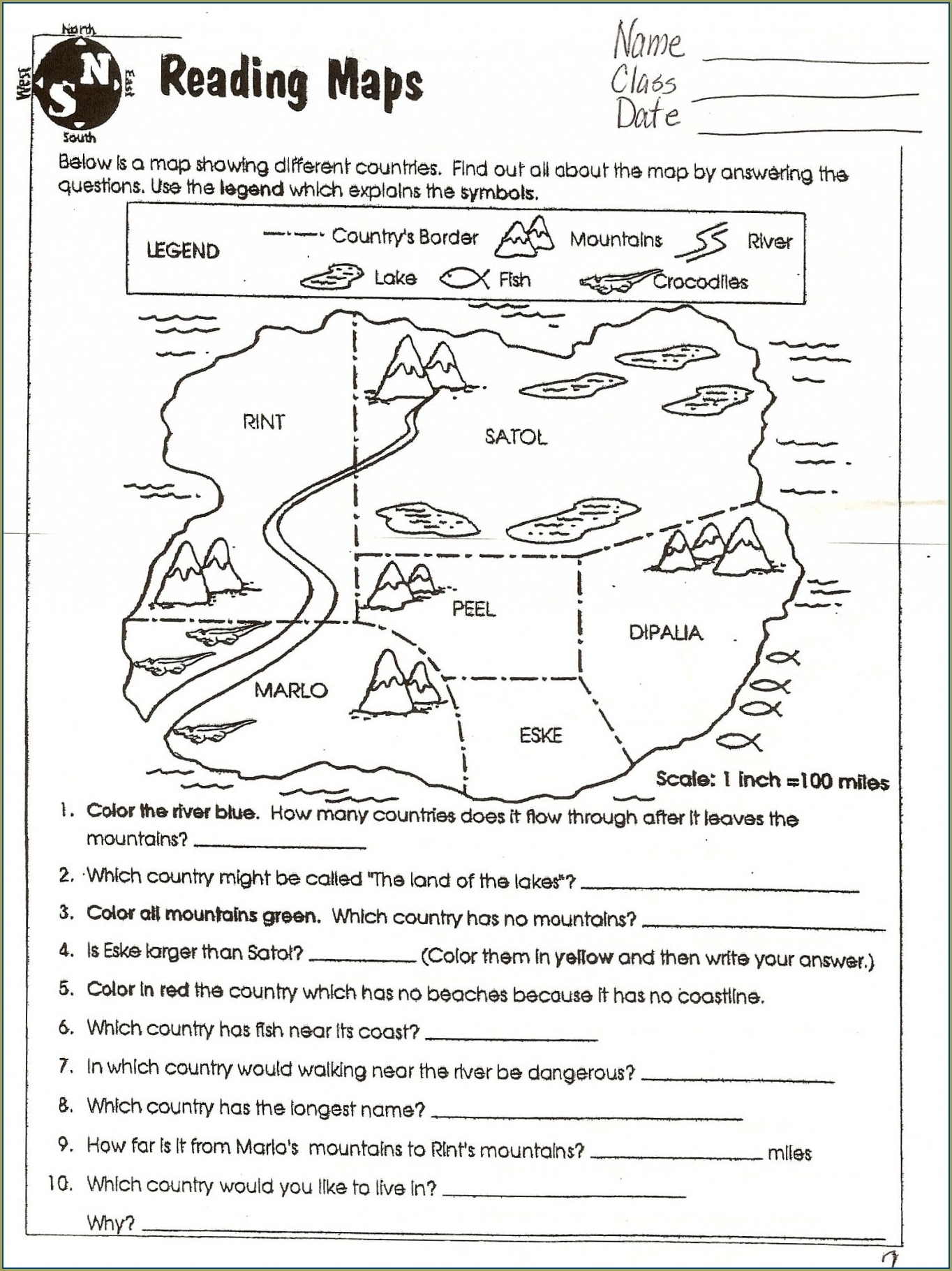 Free Map Skills Worksheets 4th Grade