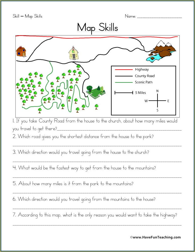 Free Map Skills Worksheets For 1st Grade