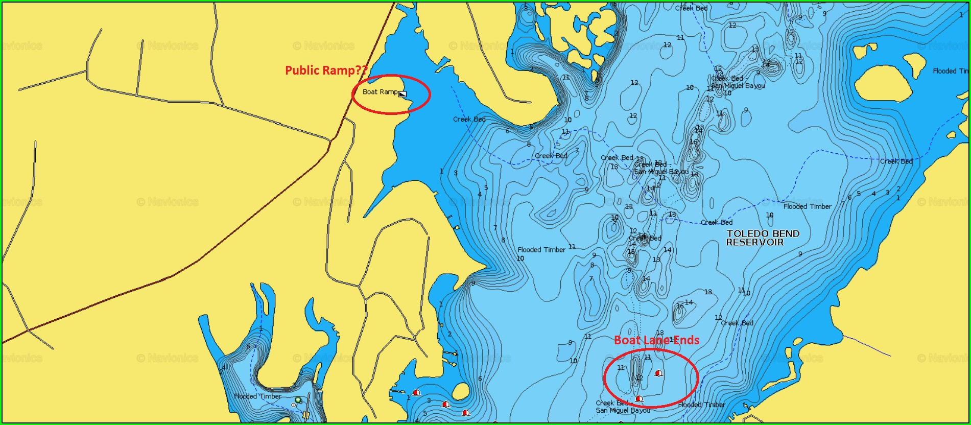 Free Toledo Bend Fishing Map