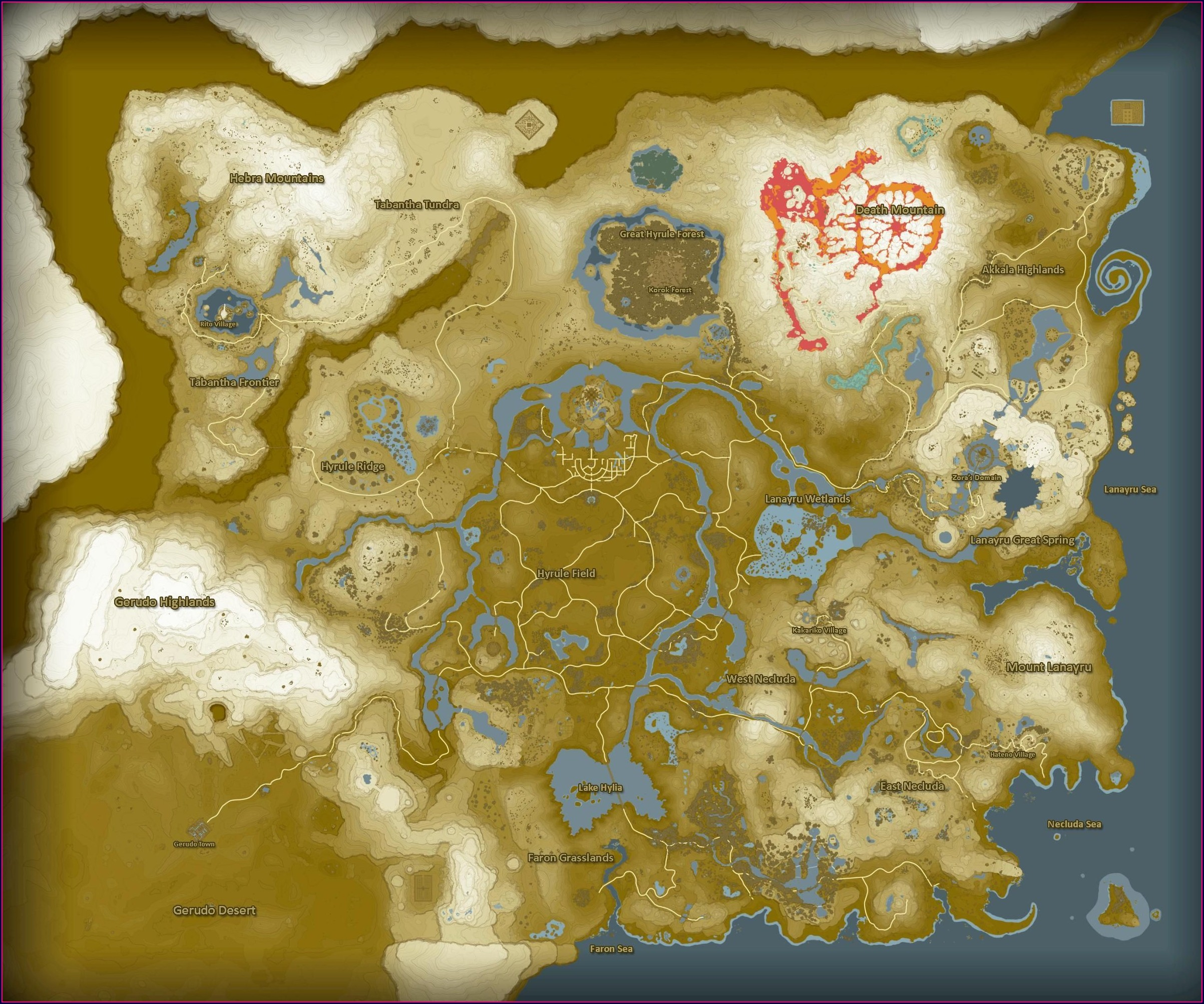 Full Legend Of Zelda Map Breath Of The Wild