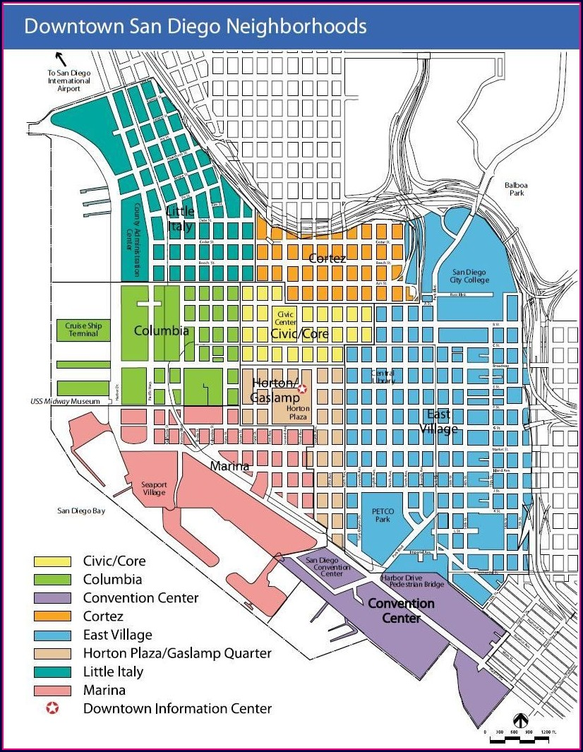 Gaslamp District Map Of Downtown San Diego