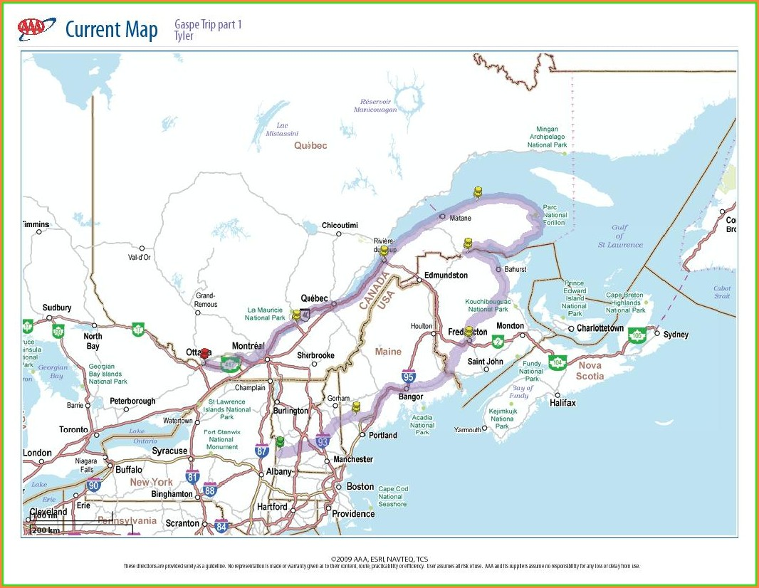 Gaspe Peninsula Quebec Canada Map