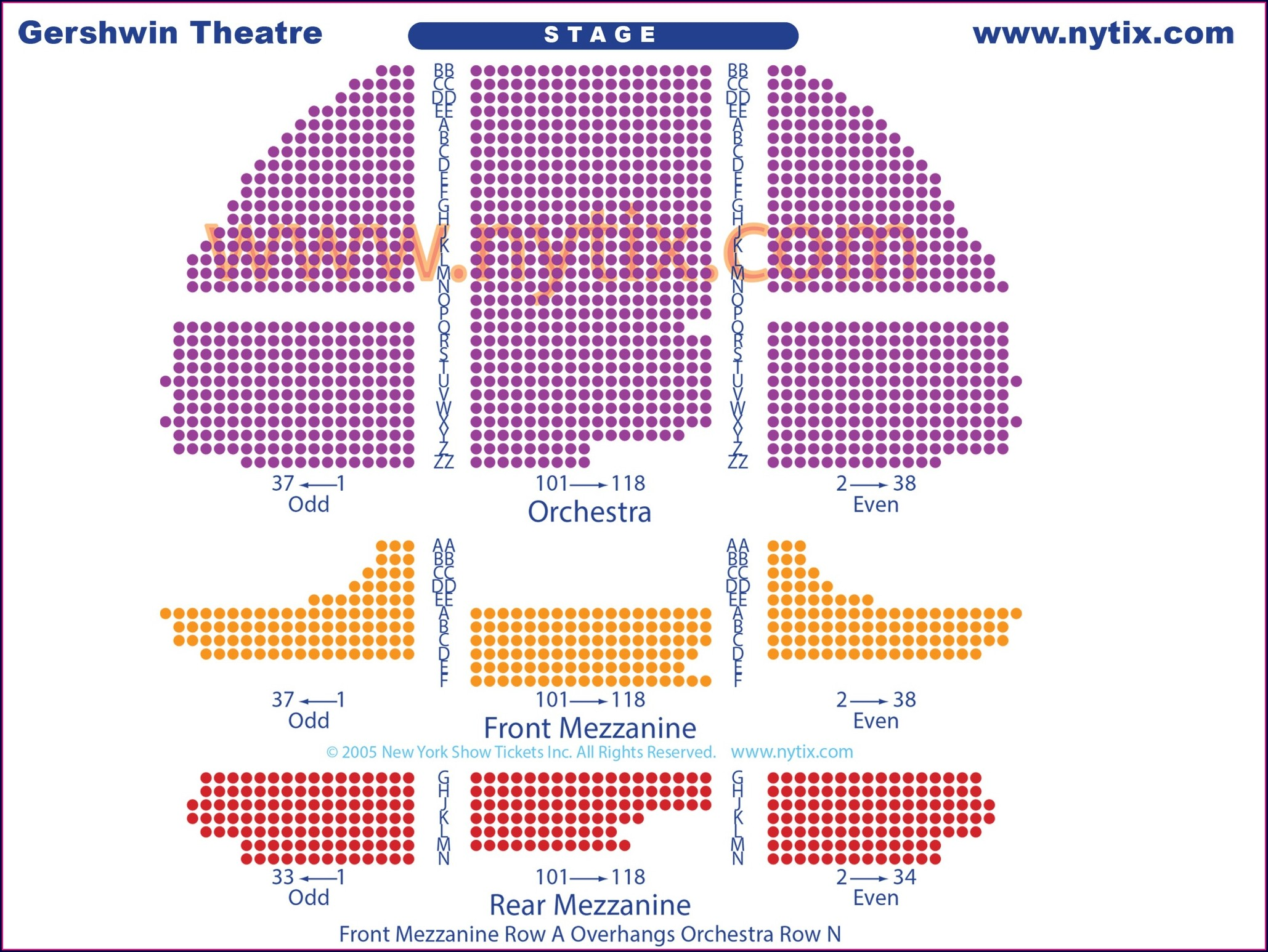Gershwin Theater Seat Map