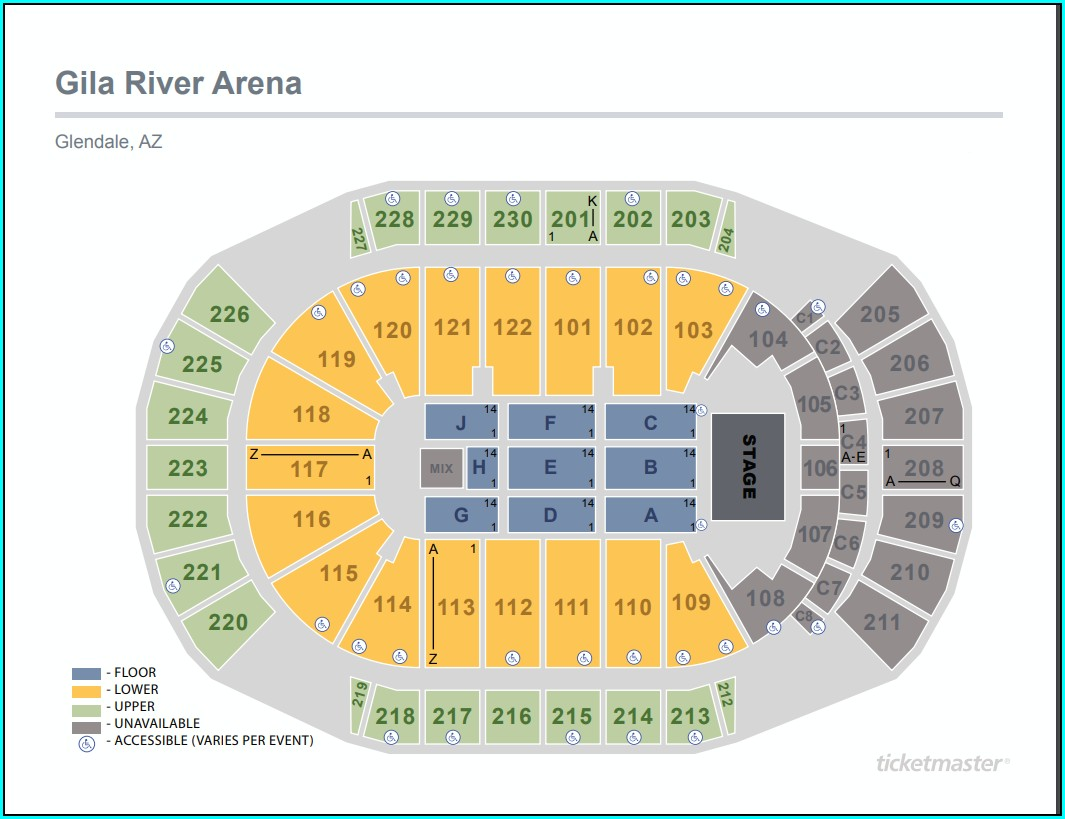 Glendale Arena Seating Map