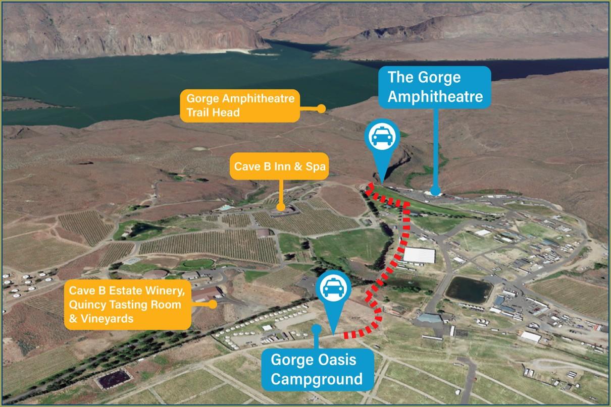 Gorge Amphitheater Parking Map