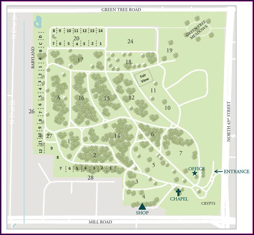 Graceland Cemetery Map Valparaiso Indiana