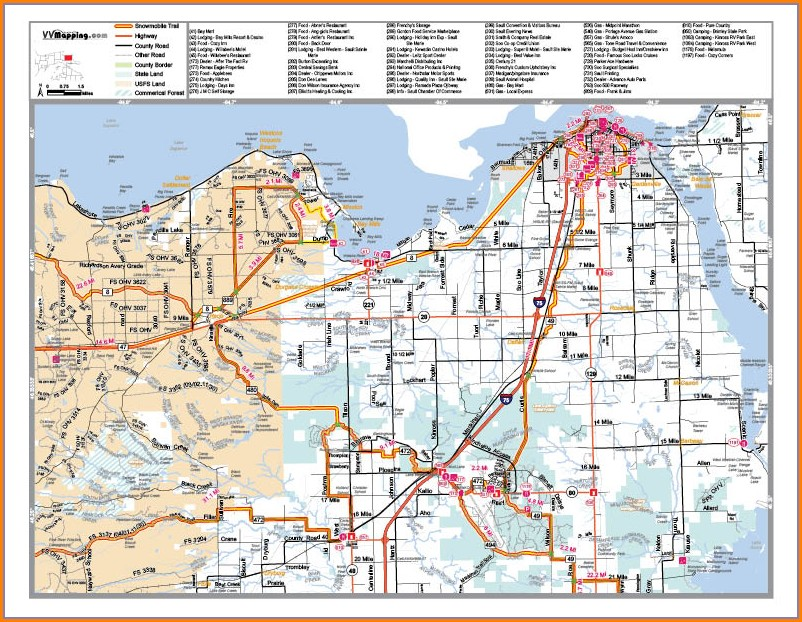 Grayling Snowmobile Trail Map