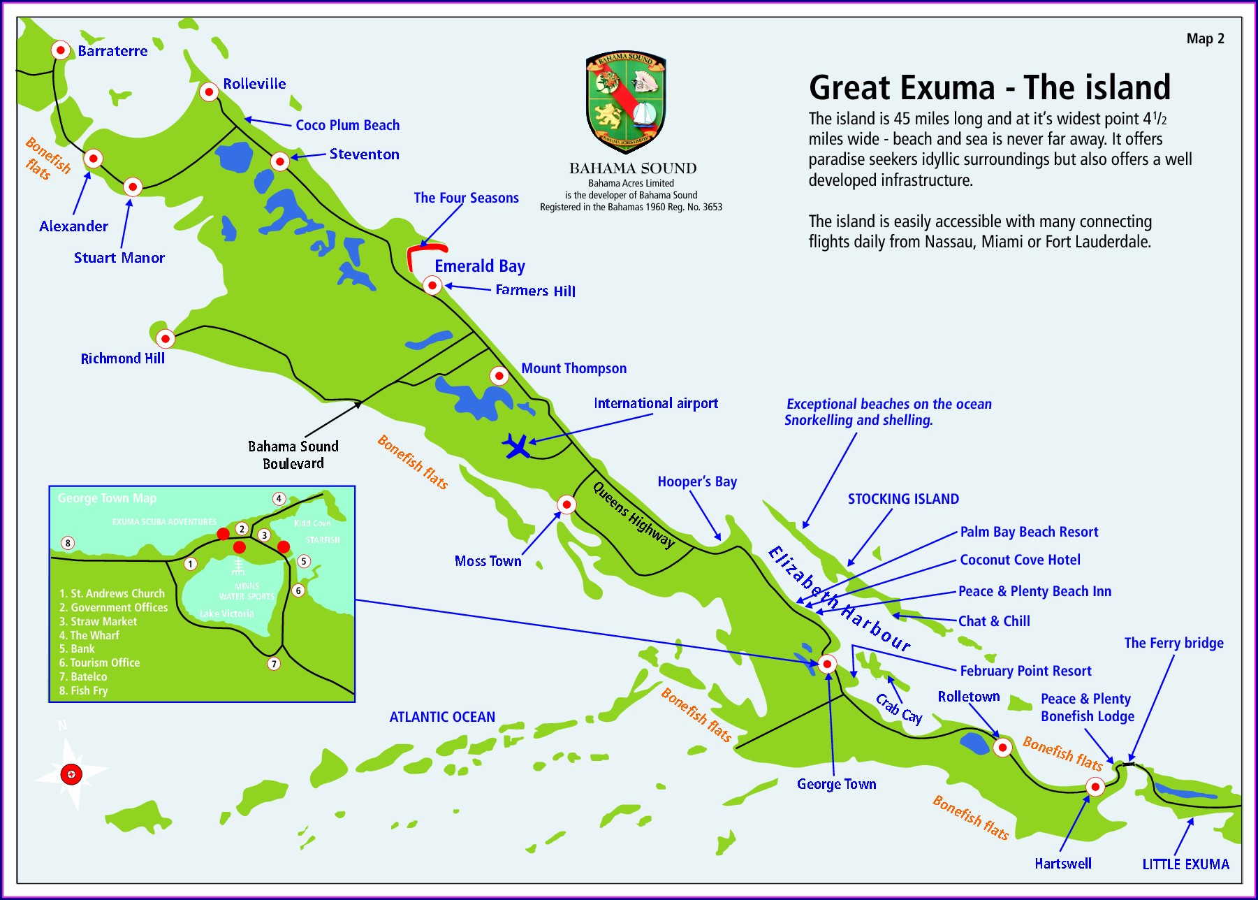 Great Exuma Map With Markers