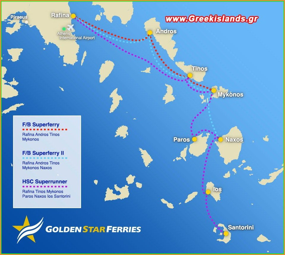 Greek Ferry Lines Map