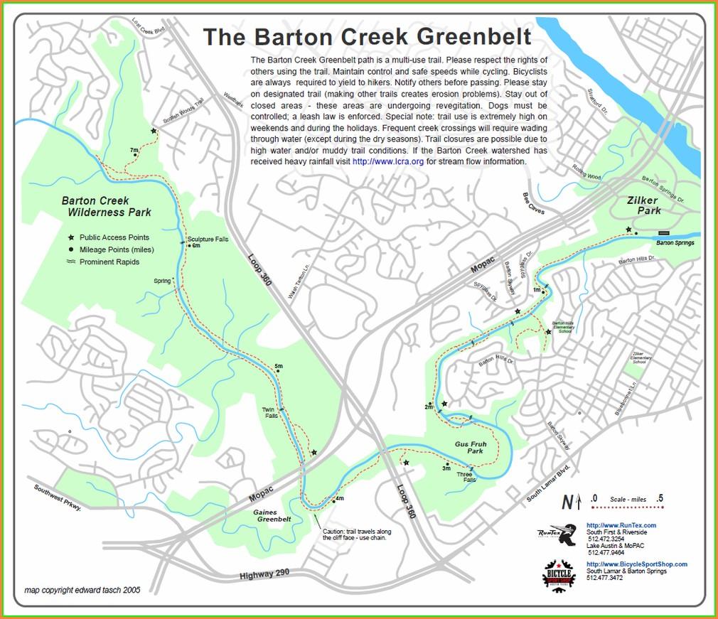 Greenbelt Trail Map Austin Tx