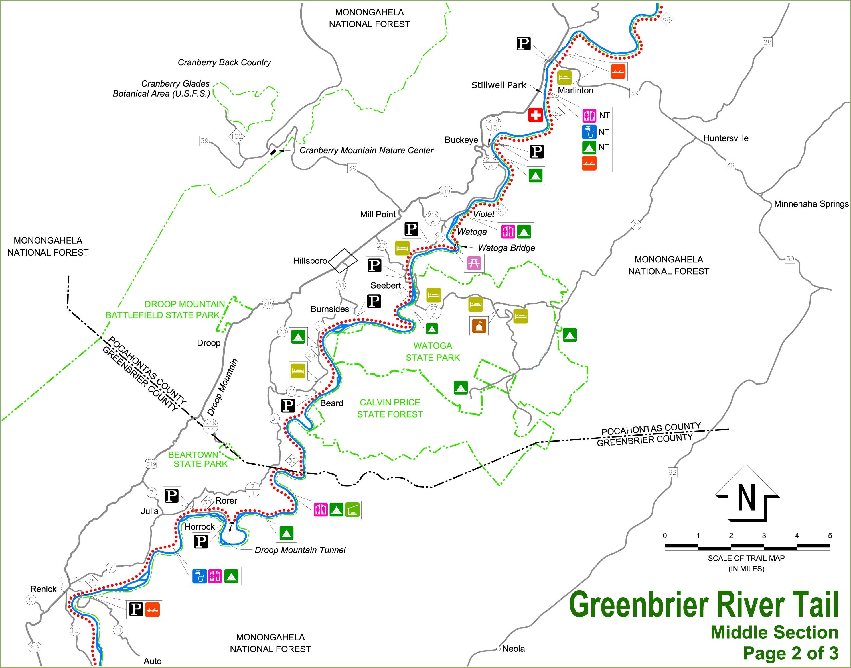 Greenbrier River Trail Map With Mile Markers