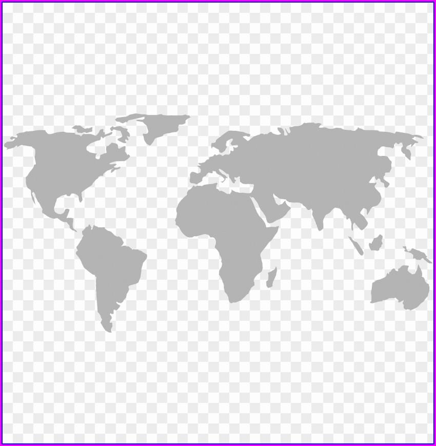 Grey World Map No Background
