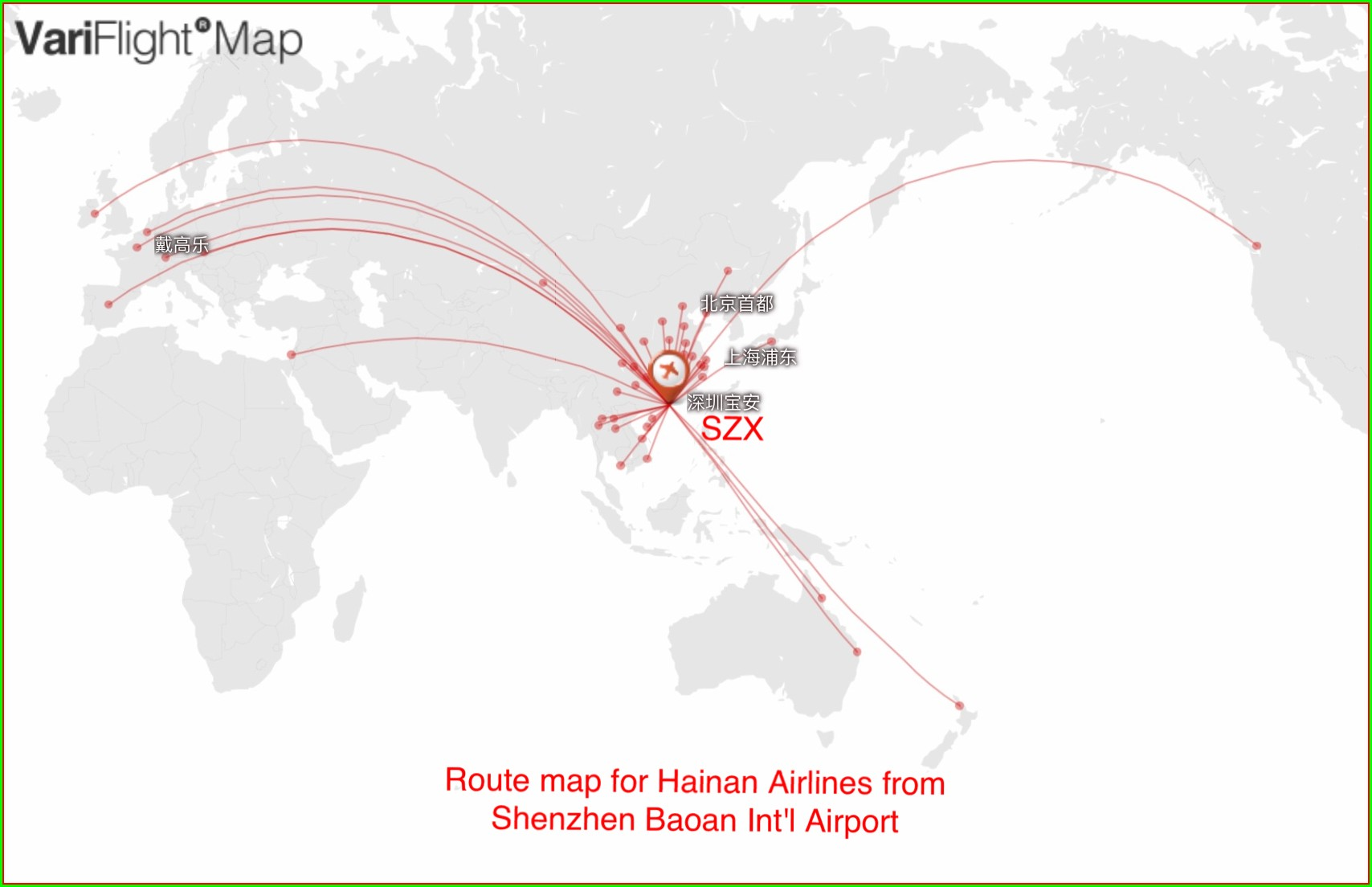 Hainan Airlines Route Map 2018