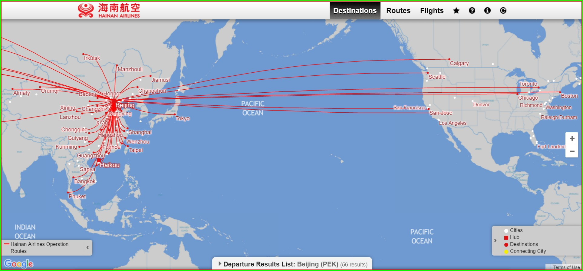Hainan Airlines Route Map 2019