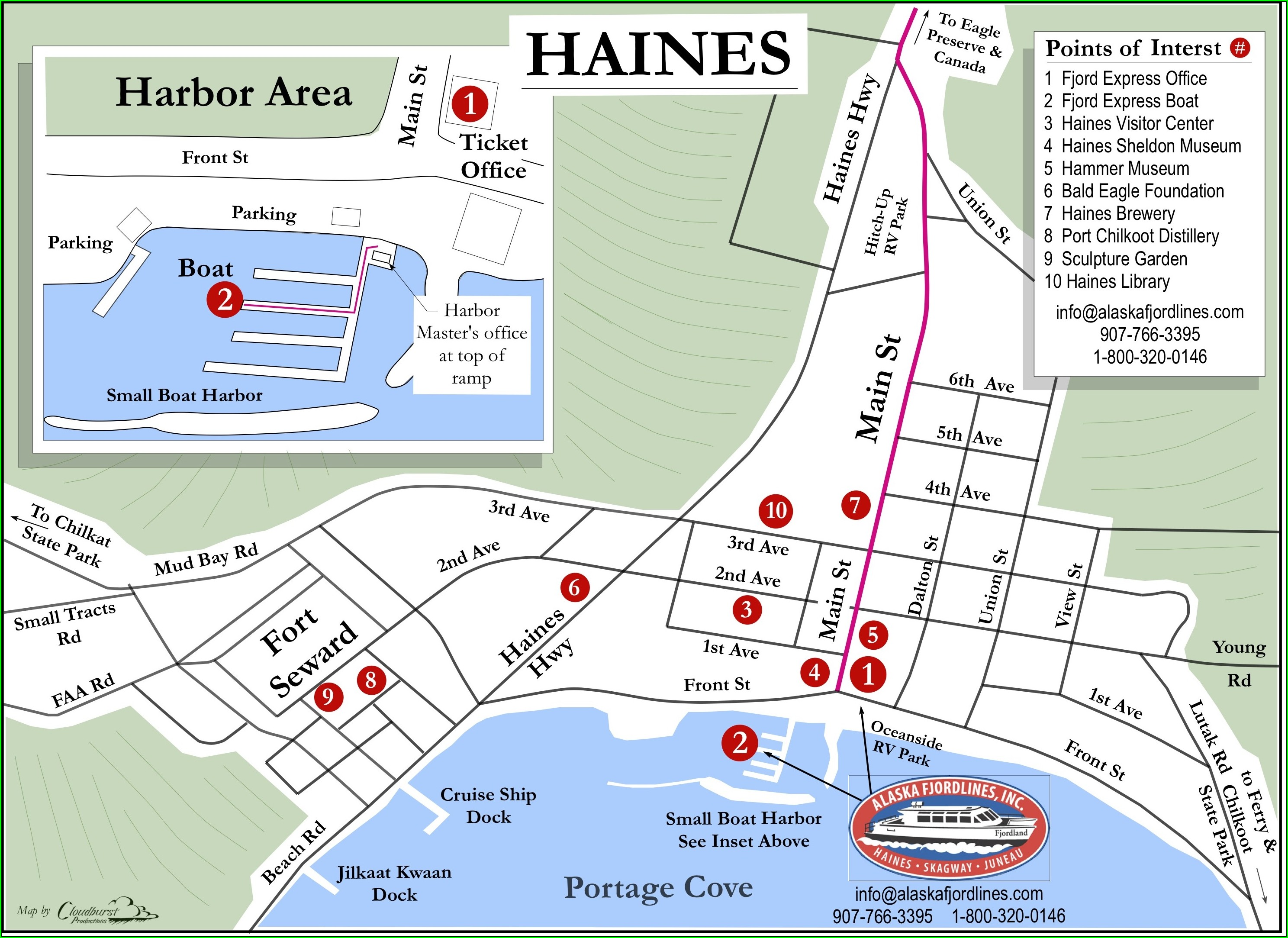Haines Alaska Tourist Map