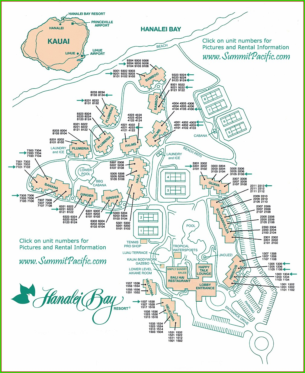 Hanalei Bay Resort Property Map