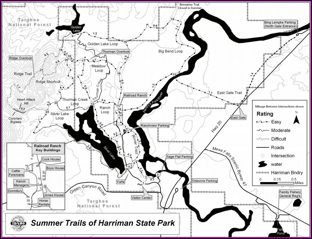 Harriman Trail Map Idaho