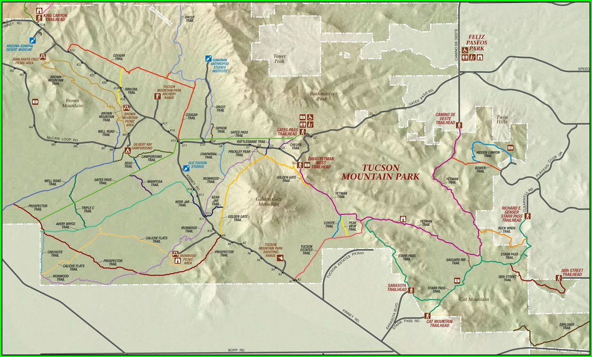 Hiking Trails Tucson Map