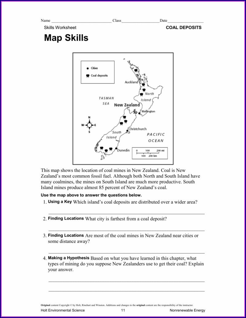 Holt Environmental Science Map Skills Answer Key