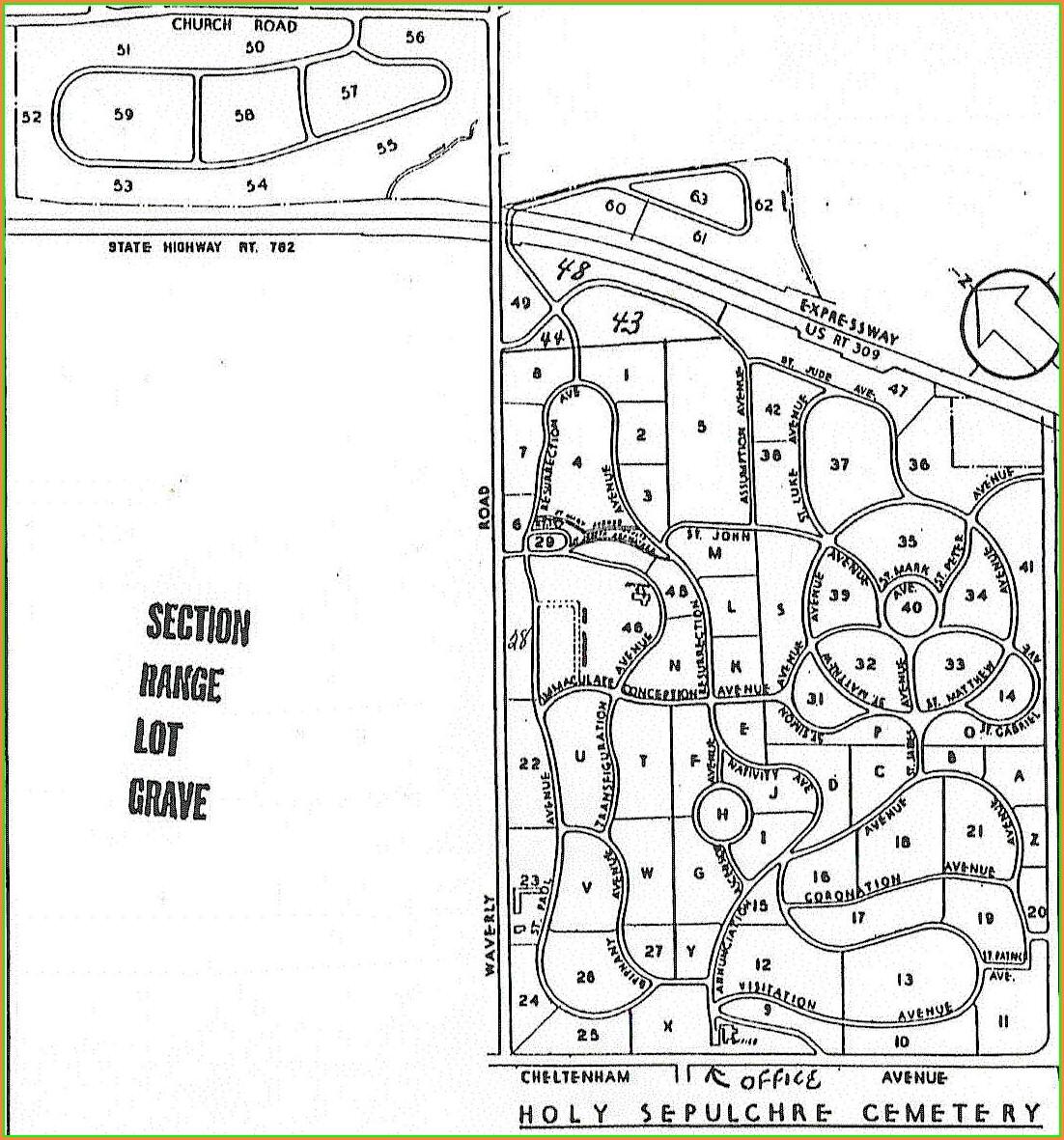 Holy Sepulchre Cemetery Cheltenham Map