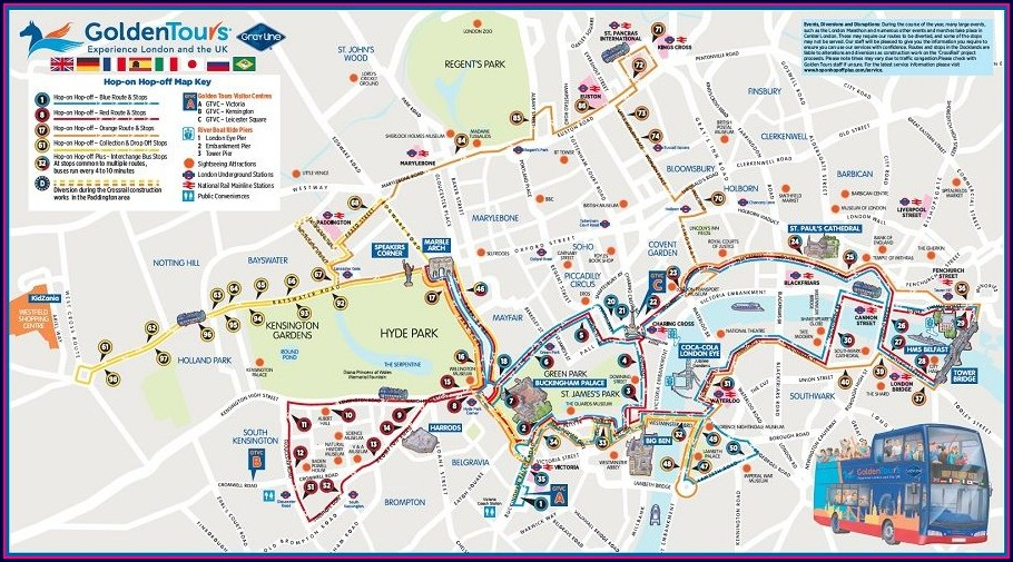 Hop On Hop Off London Route Map