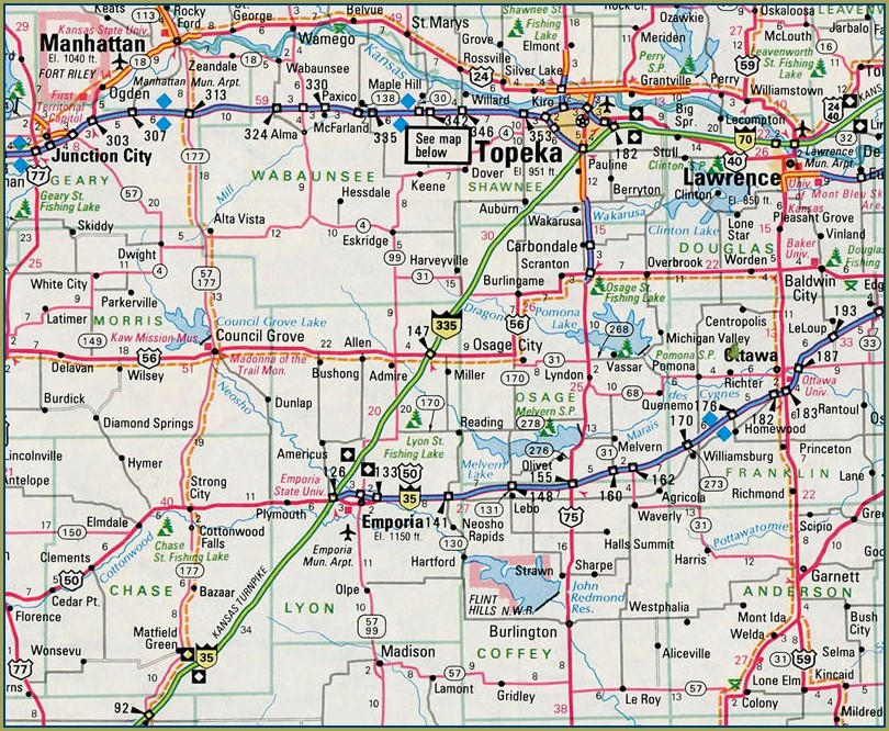 I 70 Mile Marker Map Kansas
