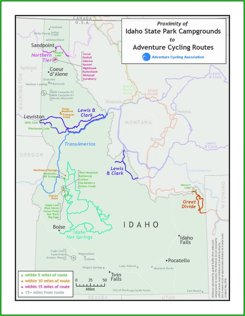 Idaho Bike Trails Map