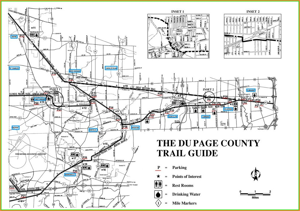 Illinois Prairie Path Map With Mile Markers