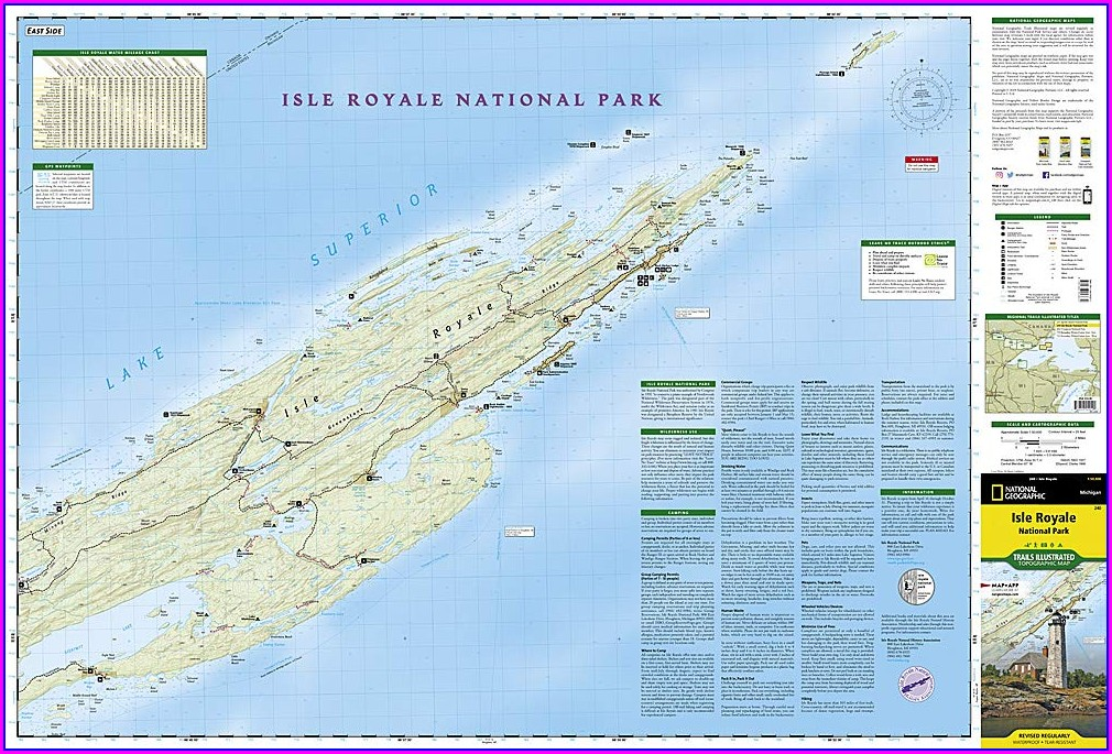 Isle Royale Hiking Trail Map