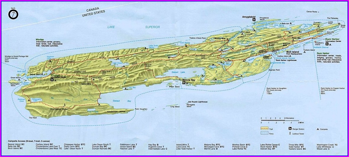 Isle Royale Trail Map With Mileage