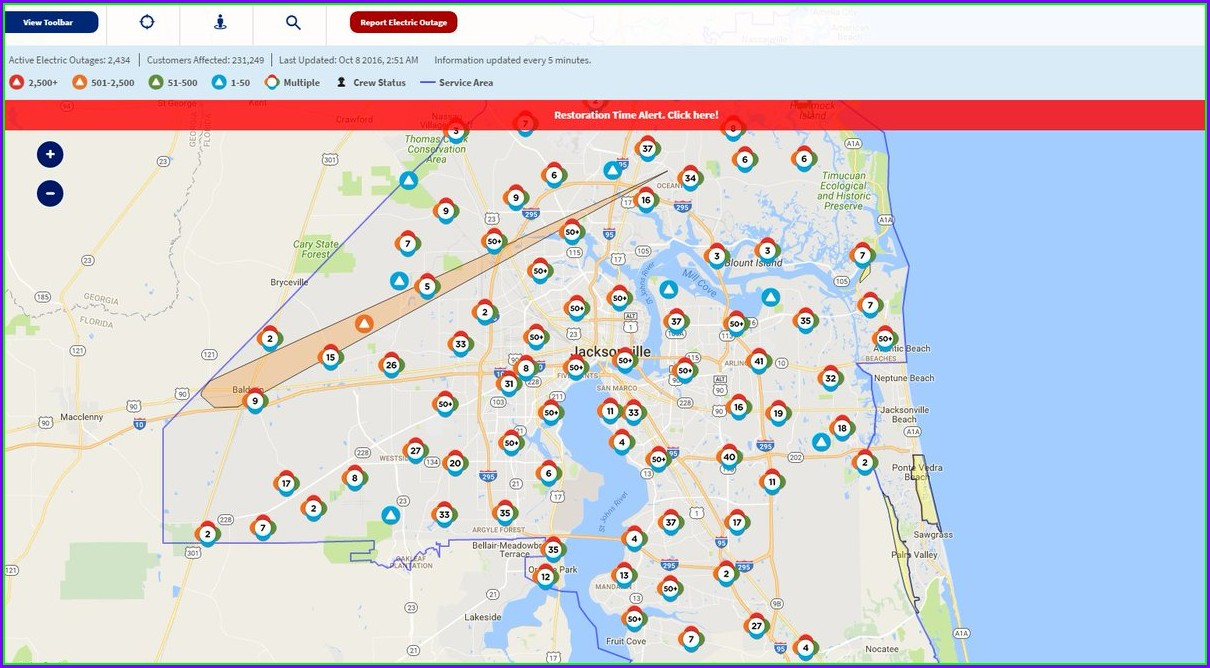 Jea Power Outage Map